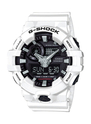 Casio G-Shock Analog/Digital Watch for Men With Resin Band, Water Resistant and Chronograph, GA-700-7ADR, White-Black