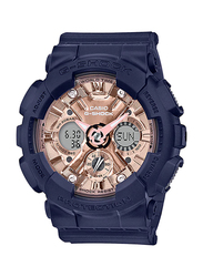 Casio Baby-G Analog/Digital Watch for Women With Resin Band, Water Resistant and Chronograph, GMA-S120MF-2A2DR, Dark Blue-Rose Gold