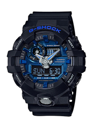 Casio G-Shock Analog/Digital Watch for Men With Resin Band, Water Resistant and Chronograph, GA-710-1A2DR, Black-Blue