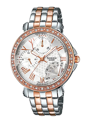 Casio Sheen Analog Watch for Women With Stainless Steel Band, Water Resistant and Chronograph, SHN-3011SG-7ADR, Silver