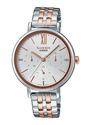 Casio Sheen Analog Watch for Women With Stainless Steel Band, Water Resistant and Chronograph, SHE-3064SPG-7AUDF, Silver