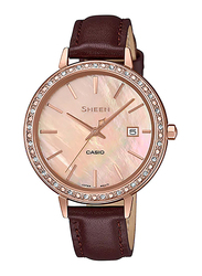 Casio Sheen Analog Watch for Women With Genuine Leather Band, Water Resistant, SHE-4052PGL-4AUDF, Dark Brown-Rose Gold