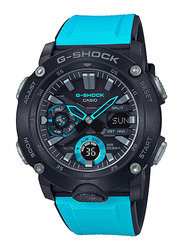 Casio G-Shock Analog/Digital Watch for Men With Resin Band, Water Resistant and Chronograph, GA-2000-1A2DR, Blue-Black