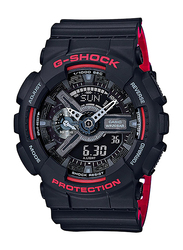 Casio G-Shock Analog/Digital Watch for Men With Resin Band, Water Resistant and Chronograph, GA-110HR-1ADR, Black