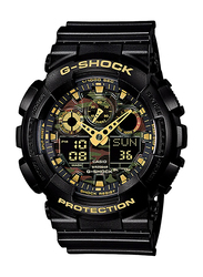 Casio G-Shock Analog/Digital Watch for Men With Resin Band, Water Resistant and Chronograph, GA-100CF-1A9DR, Black-Gold