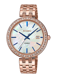 Casio Sheen Analog Watch for Women With Stainless Steel Band, Water Resistant, SHE-4052PG-2AUDF, Rose Gold-Multicolour