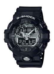 Casio G-Shock Analog/Digital Watch for Men With Resin Band, Water Resistant and Chronograph, GA-710-1ADR, Black-Silver