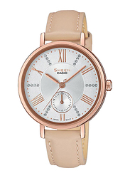 Casio Sheen Analog Watch for Women With Genuine Leather Band, Water Resistant and Chronograph, SHE-3066PGL-7BUDF, Beige-Silver