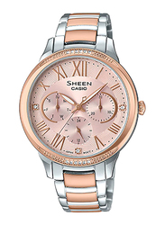 Casio Sheen Analog Watch for Women With Stainless Steel Band, Water Resistant and Chronograph, SHE-3058SPG-4AUDR, Silver-Rose Gold
