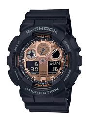 Casio G-Shock Analog/Digital Watch for Men With Resin Band, Water Resistant and Chronograph, GA-100MMC-1ADR, Black-Rose Gold