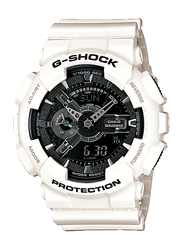 Casio G-Shock Analog/Digital Watch for Men With Resin Band, Water Resistant and Chronograph, GA-110GW-7ADR, White-Black