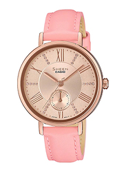 Casio Sheen Analog Watch for Women With Genuine Leather Band, Water Resistant and Chronograph, SHE-3066PGL-4AUDF, Pink-Rose Gold