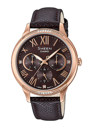 Casio Sheen Analog Watch for Women With Genuine Leather Band, Water Resistant and Chronograph, SHE-3058PGL-5AUDR, Dark Brown