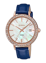Casio Sheen Analog Watch for Women With Genuine Leather Band, Water Resistant, SHE-4052PGL-7AUDF, Dark Blue-Multicolour