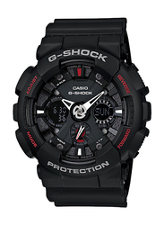 Casio G-Shock Analog/Digital Watch for Men With Resin Band, Water Resistant and Chronograph, GA-120-1ADR, Black