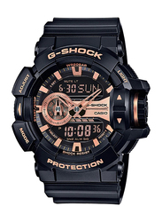 Casio G-Shock Analog/Digital Watch for Men With Resin Band, Water Resistant and Chronograph, GA-400GB-1A4DR, Black-Rose Gold