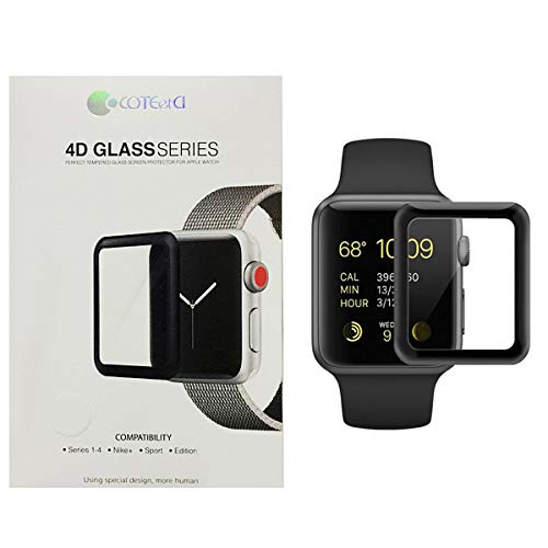 Coteetci Glass Screen Protection for Apple Watch 42 mm, Black