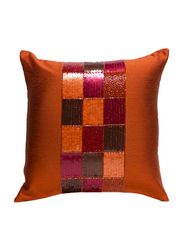 OraOnline Check Orange Decorative Cushion/Pillow, 40x40 cm