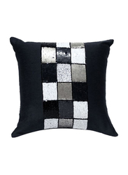 OraOnline Check Black Decorative Cushion/Pillow, 40x40 cm