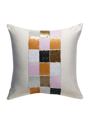 OraOnline Check Off White Decorative Cushion/Pillow, 40x40 cm
