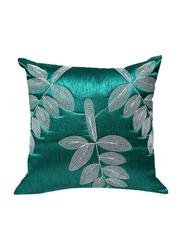 OraOnline Leaf Turquoise Decorative Cushion/Pillow, 40x40 cm