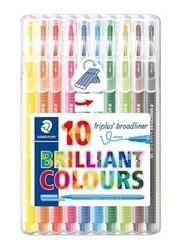 Staedtler Triplus Broadliner Coloured Marker Set, 10-Piece, Multicolour