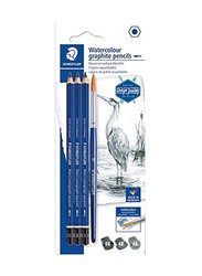 Staedtler 3-Piece Watercolour Graphite Pencil with Brush, Blue