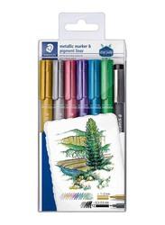 Staedtler Metallic Marker Set with Pigment Liner Pen, 6-Piece, Multicolour