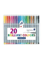 Staedtler Triplus Brilliant Colours Pen Set, 20-Pieces, Multicolour
