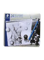 Staedtler 2-Piece Pencil with Charcoal 24 Degrees Set, Blue/Black