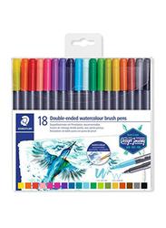 Staedtler Double Ended Watercolour Brush Pen Set, 18-Piece, Multicolour