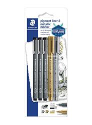 Staedtler 4-Piece Pigment Fineliner Pen Set with Metallic Marker, Grey/Gold