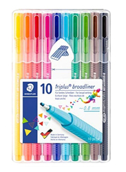 Staedtler Triplus Broad liner Fineliner Pen Set, 10 Pieces, Multicolour