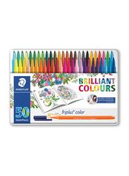 Staedtler Triplus Fibre Tip Pen Set, 50 Pieces, Multicolour