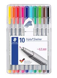 Staedtler Triplus Fineliner Tip Color Pen Set, 0.3mm, 10 Pieces, Multicolour