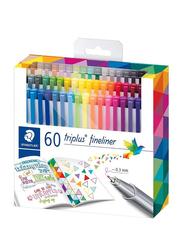 Staedtler Triplus Fineliner Colour Pen Set, 60-Pieces, Multicolour