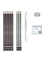 Staedtler Mars Lumograph Charcoal Pencil Set, 12-Piece, Black