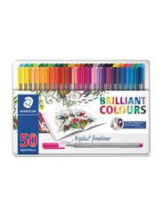 Staedtler Triplus Brilliant Colours Fineliner Pen Set, 50-Pieces, Multicolour