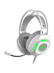 Ajazz AX120 Over-Ear Noise Cancelling Gaming Headphones with Mic, White