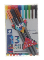 Staedtler Triplus Fineliner Pen Set, 13 Pieces, Brown/Black/Pink
