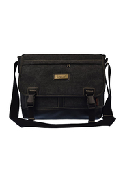 C-Leathers 14-inch Laptop Messenger Bag, Black