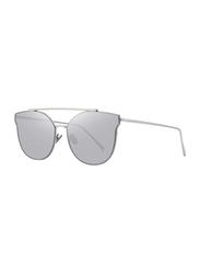 Merry's Full Rim Cat Eye Silver Sunglasses for Women, Mirrored Grey Lens, S8089, 56/19/138