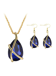 Zinsbedi Gold Plated Crystal Stone Jewelry Set for Women, with Earrings Necklace Set, Black