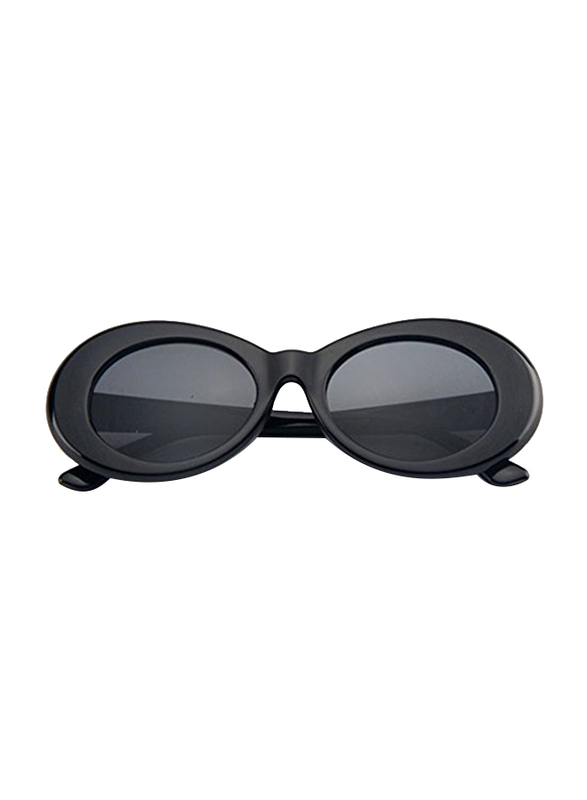 ShadesOnParty Cobain Clout Thick Full Rim Oval Black Sunglasses for Women, Grey Lens, 15/15/15