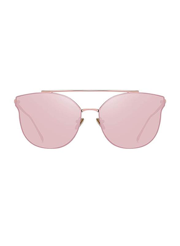 Merry's Full Rim Cat Eye Gold Sunglasses for Women, Mirrored Pink Lens, S8089, 56/19/138
