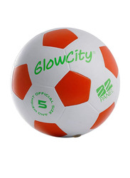 GlowCity Size-5 LED Light Up Football/Soccer Ball, White/Red