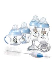 TommeeTippeeCloser to NatureNewbornBaby Bottle Feeding Starter Set for Boy, Blue/Clear