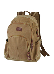 Coofit 15-inch Canvas Travel Backpack Laptop Bag, Brown