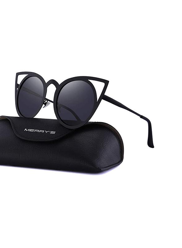 Merry's Full Rim Cat Eye Black Sunglasses for Women, Mirrored Black Lens, S8064, 50/16/138