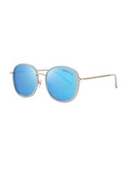 Merry's Polarized Oversized Retro Temple Full-Rim Round Gold Sunglasses for Women, Blue Lens, S6108, 53/22/148